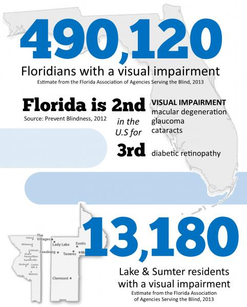 the vision loss statistics visually presented atop silhouettes of Florida and Lake/Sumter Counties